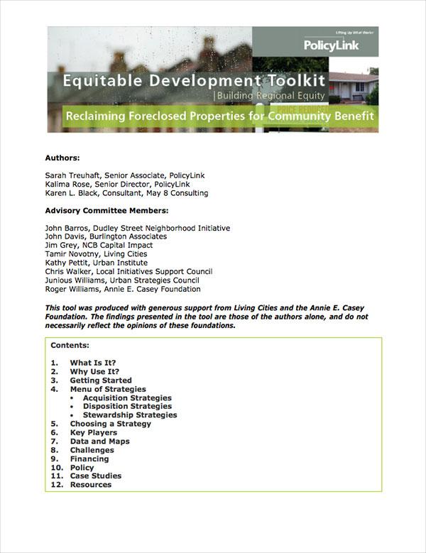 Equitable Development Toolkit Cover