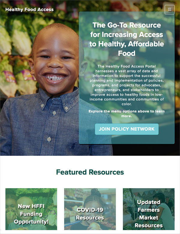 Healthy Food Access Portal Homepage