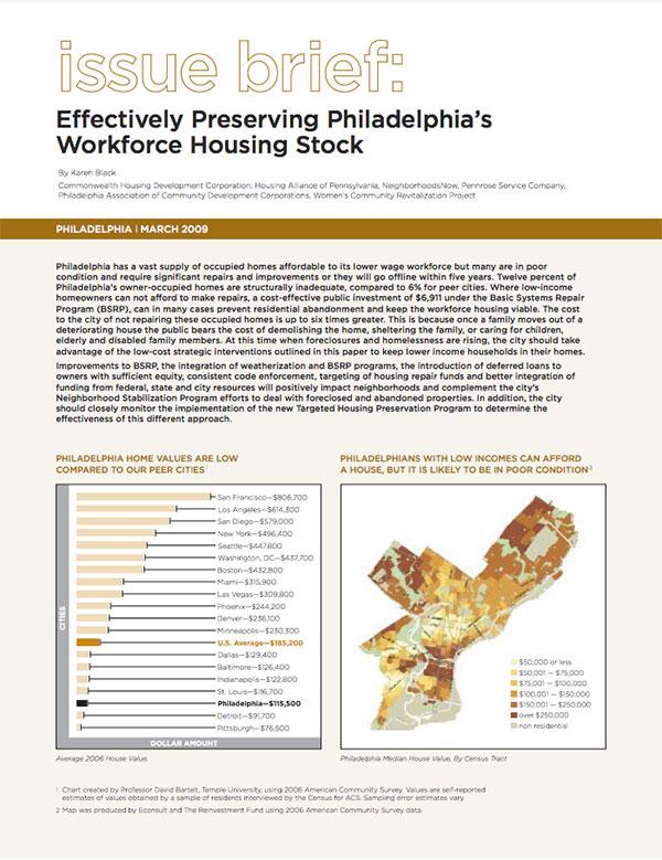 Effectively Preserving Philadelphia's Workforce Housing Stock Cover